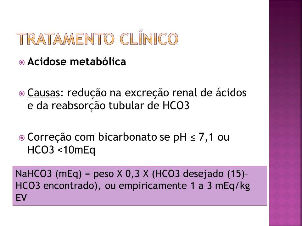 Acidose metabólica Causas: redução na excreção renal de ácidos e da reabsorção tubular de HCO3 Correção com bicarbonato se pH 7,1 ou HCO3 <10mEq NaHCO