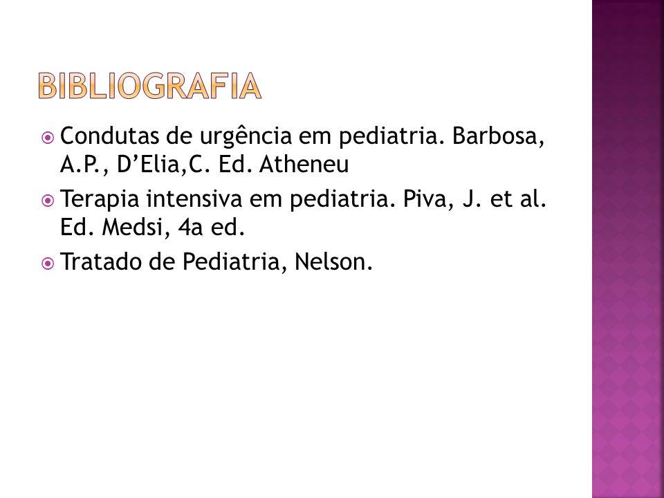Condutas de urgência em pediatria. Barbosa, A.P., DElia,C. Ed. Atheneu Terapia intensiva em pediatria. Piva, J. et al. Ed. Medsi, 4a ed. Tratado de Pe