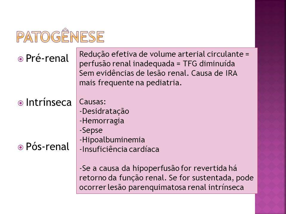 Pré-renal Intrínseca Pós-renal Redução efetiva de volume arterial circulante = perfusão renal inadequada = TFG diminuída Sem evidências de lesão renal