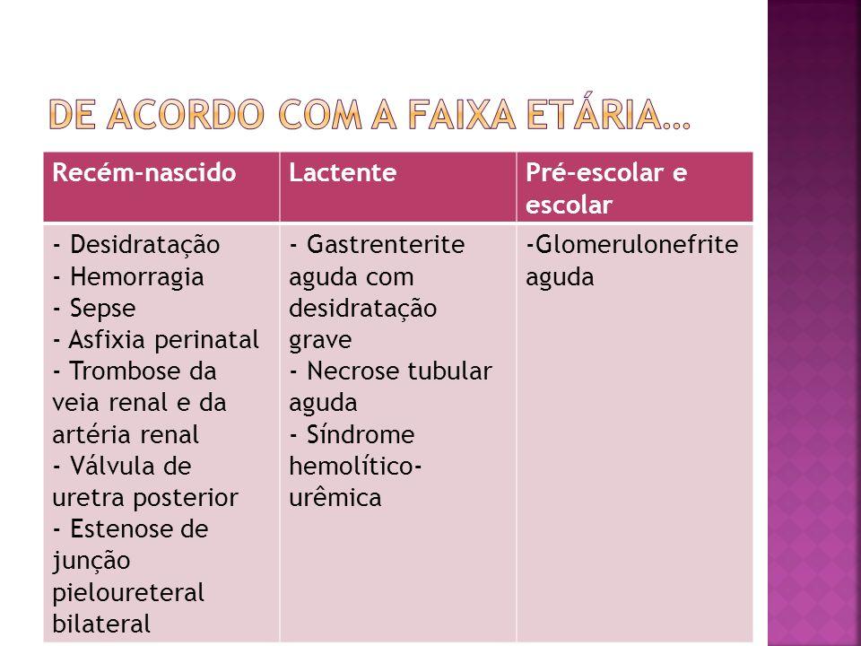 Recém-nascidoLactentePré-escolar e escolar - Desidratação - Hemorragia - Sepse - Asfixia perinatal - Trombose da veia renal e da artéria renal - Válvu
