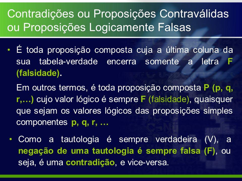 Contradições ou Proposições Contraválidas ou Proposições Logicamente Falsas É toda proposição composta cuja a última coluna da sua tabela-verdade ence