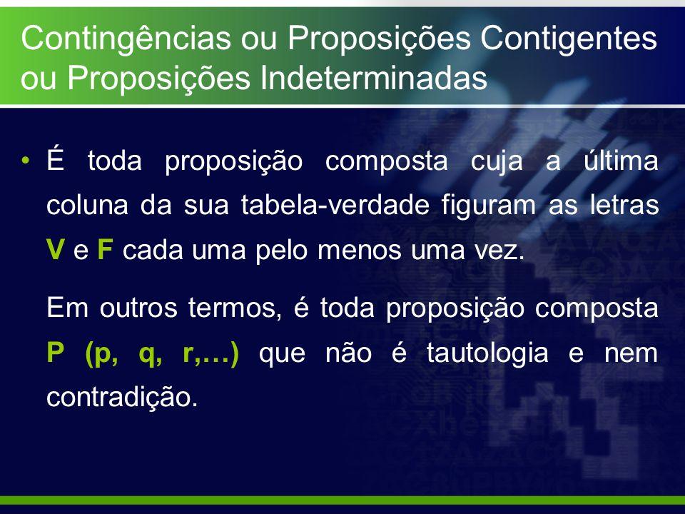 Contingências ou Proposições Contigentes ou Proposições Indeterminadas É toda proposição composta cuja a última coluna da sua tabela-verdade figuram a