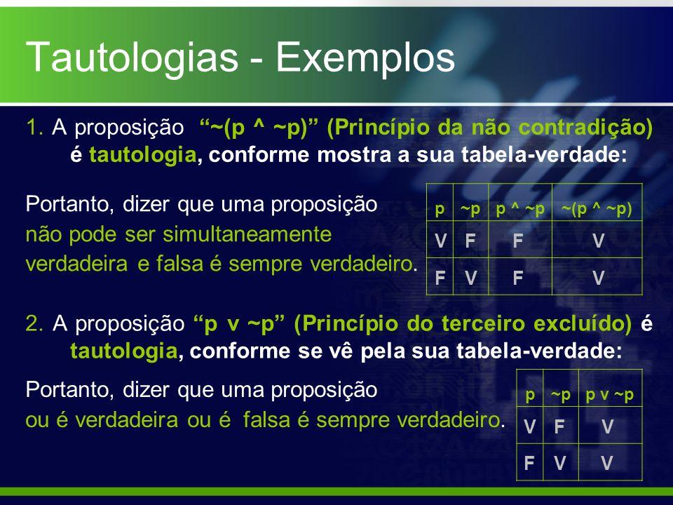 1. A proposição ~(p ^ ~p) (Princípio da não contradição) é tautologia, conforme mostra a sua tabela-verdade: p~pp ^ ~p~(p ^ ~p) F V V F F F V V Portan