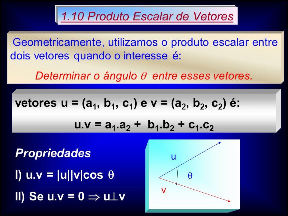 Dados os vetores u e v, decompondo v = v 1 + v 2 com v 1 // u e v 2 u.