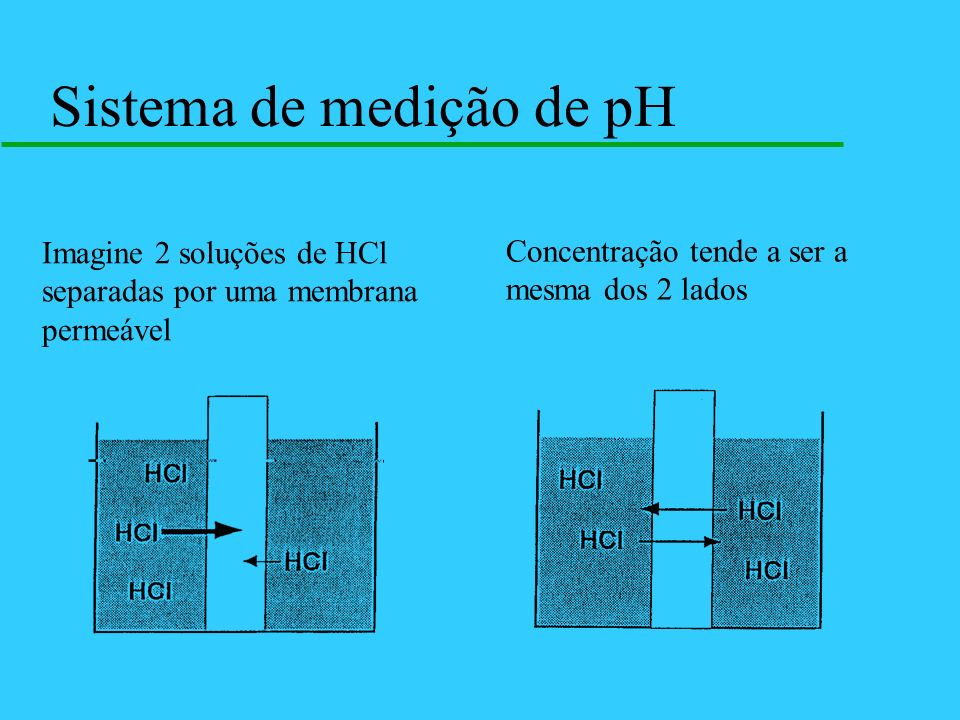 Sistema de medição de pH Imagine 2 soluções de HCl separadas por uma membrana permeável Concentração tende a ser a mesma dos 2 lados