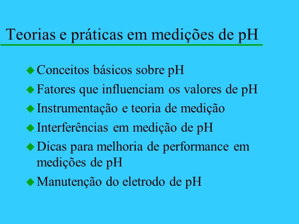 Teorias e práticas em medições de pH u Conceitos básicos sobre pH u Fatores que influenciam os valores de pH u Instrumentação e teoria de medição u In