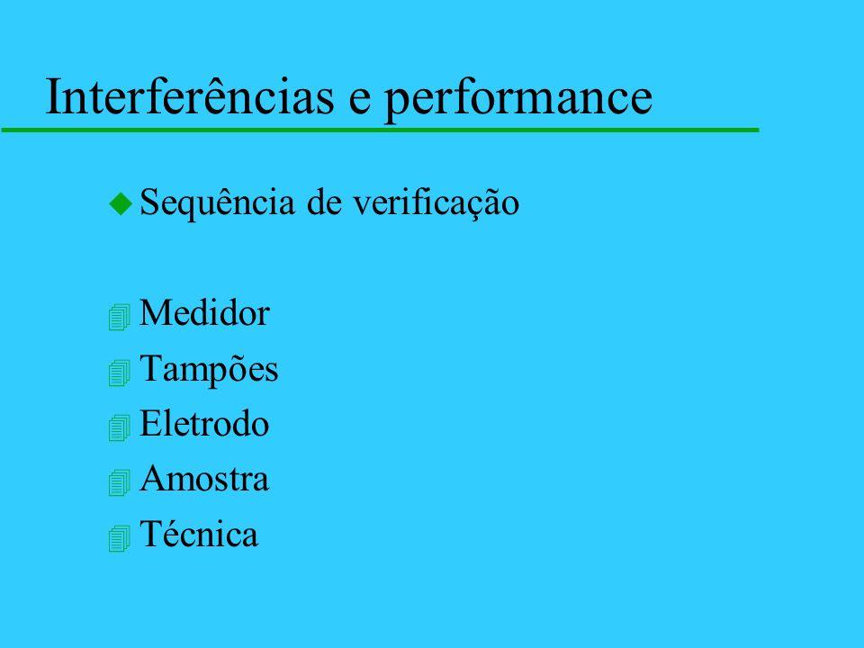 u Sequência de verificação 4 Medidor 4 Tampões 4 Eletrodo 4 Amostra 4 Técnica Interferências e performance