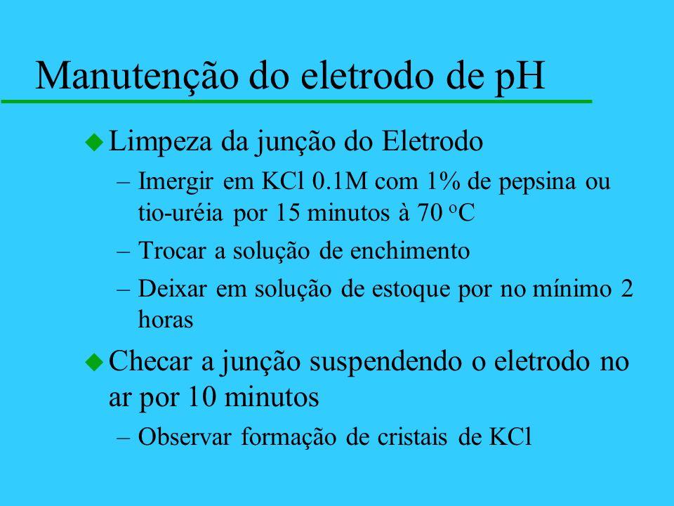 u Limpeza da junção do Eletrodo –Imergir em KCl 0.1M com 1% de pepsina ou tio-uréia por 15 minutos à 70 o C –Trocar a solução de enchimento –Deixar em
