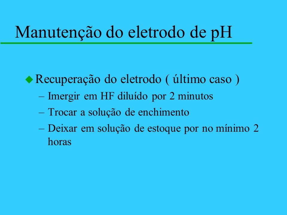 u Recuperação do eletrodo ( último caso ) –Imergir em HF diluído por 2 minutos –Trocar a solução de enchimento –Deixar em solução de estoque por no mí