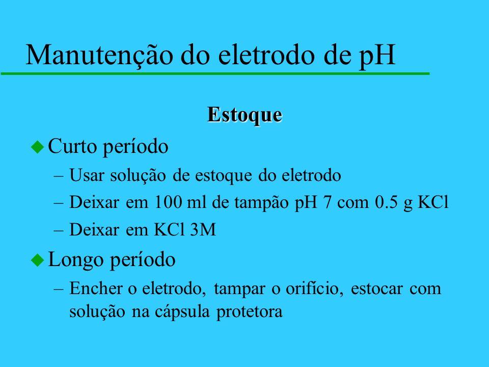 Estoque u Curto período –Usar solução de estoque do eletrodo –Deixar em 100 ml de tampão pH 7 com 0.5 g KCl –Deixar em KCl 3M u Longo período –Encher