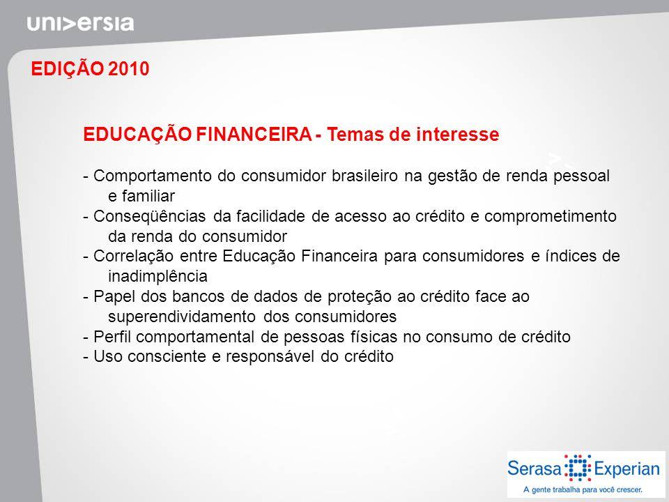 EDIÇÃO 2010 EDUCAÇÃO FINANCEIRA - Temas de interesse - Comportamento do consumidor brasileiro na gestão de renda pessoal e familiar - Conseqüências da