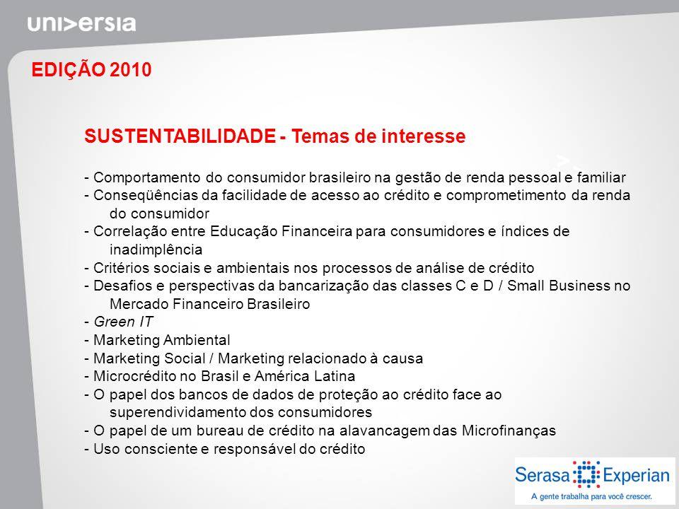 EDIÇÃO 2010 SUSTENTABILIDADE - Temas de interesse - Comportamento do consumidor brasileiro na gestão de renda pessoal e familiar - Conseqüências da fa