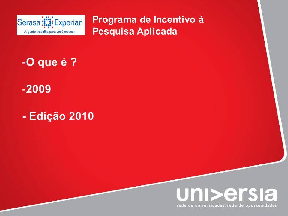 Programa de Incentivo à Pesquisa Aplicada -O que é ? -2009 - Edição 2010