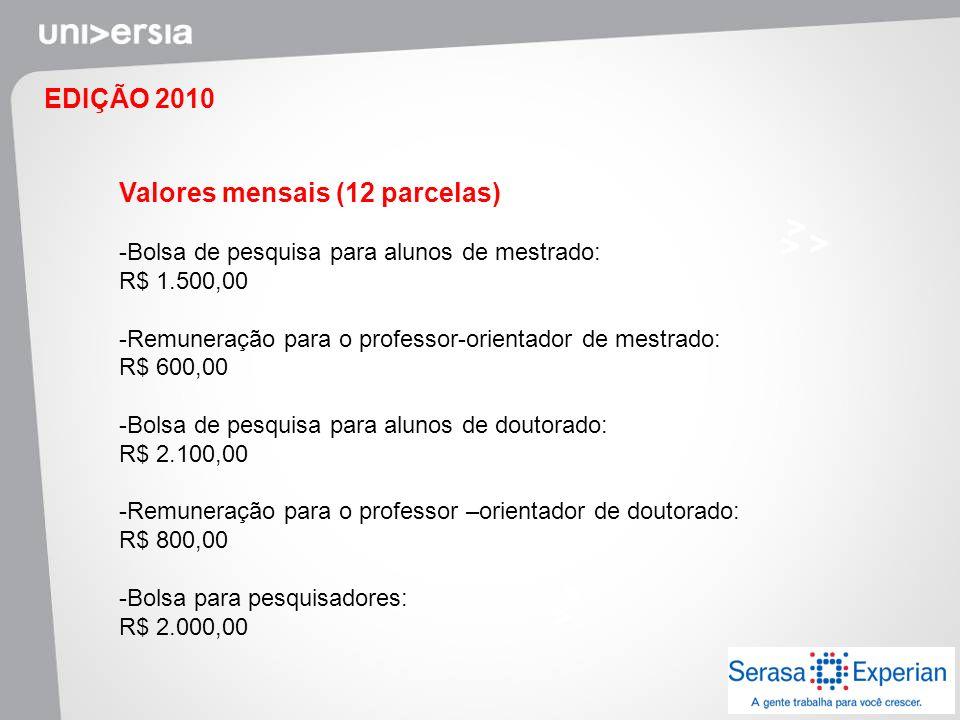 EDIÇÃO 2010 Valores mensais (12 parcelas) -Bolsa de pesquisa para alunos de mestrado: R$ 1.500,00 -Remuneração para o professor-orientador de mestrado