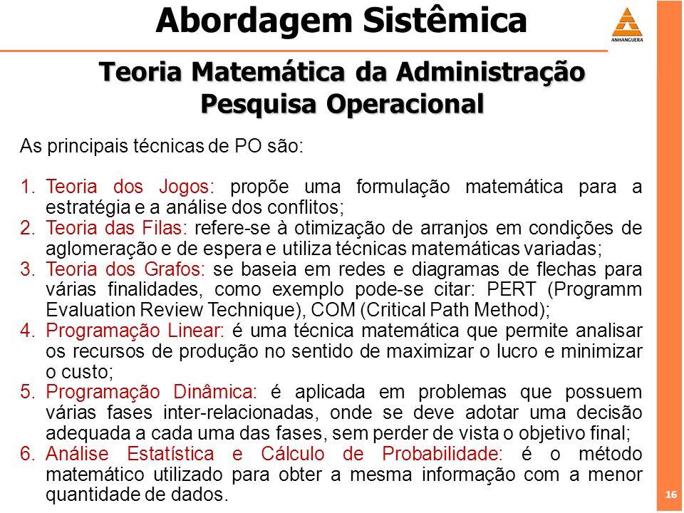 16 Abordagem Sistêmica Teoria Matemática da Administração Pesquisa Operacional As principais técnicas de PO são: 1.Teoria dos Jogos: propõe uma formul