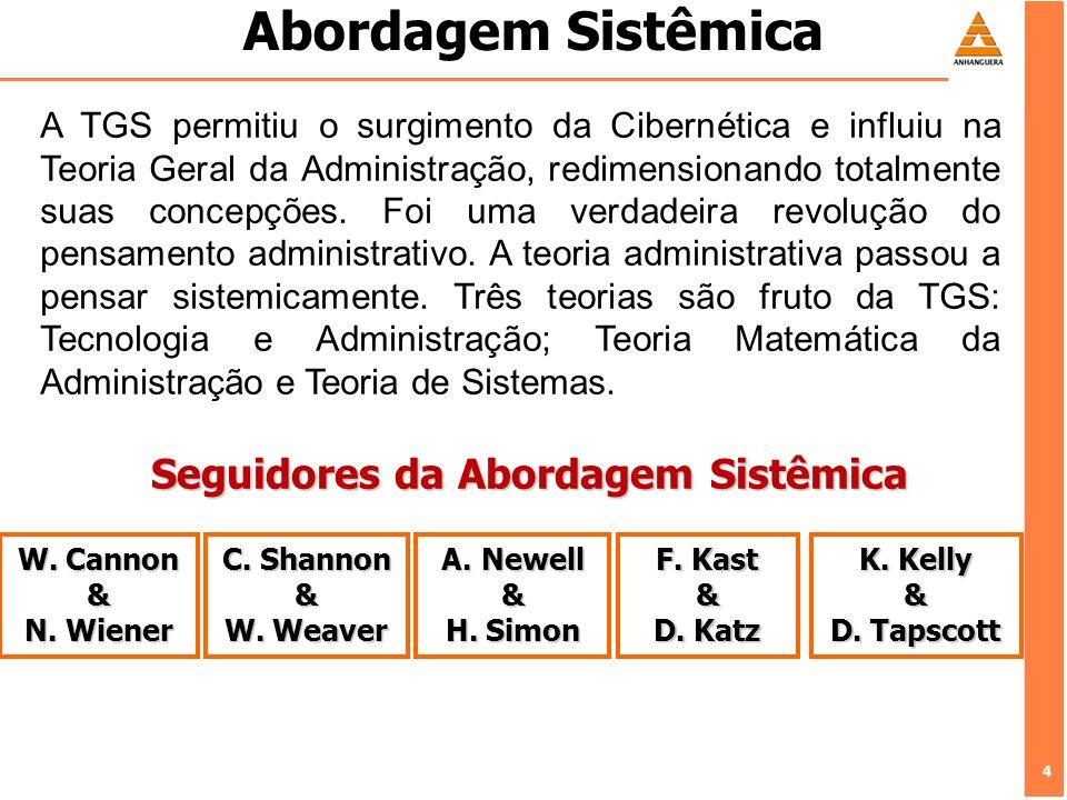 4 4 Abordagem Sistêmica A TGS permitiu o surgimento da Cibernética e influiu na Teoria Geral da Administração, redimensionando totalmente suas concepç