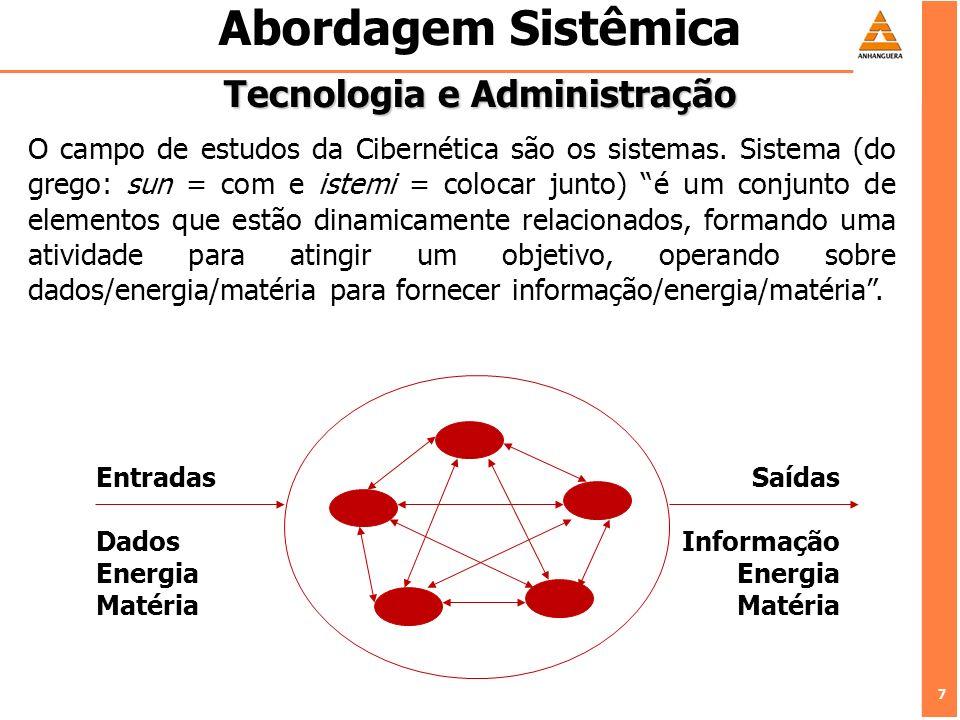 7 7 Abordagem Sistêmica Tecnologia e Administração O campo de estudos da Cibernética são os sistemas. Sistema (do grego: sun = com e istemi = colocar