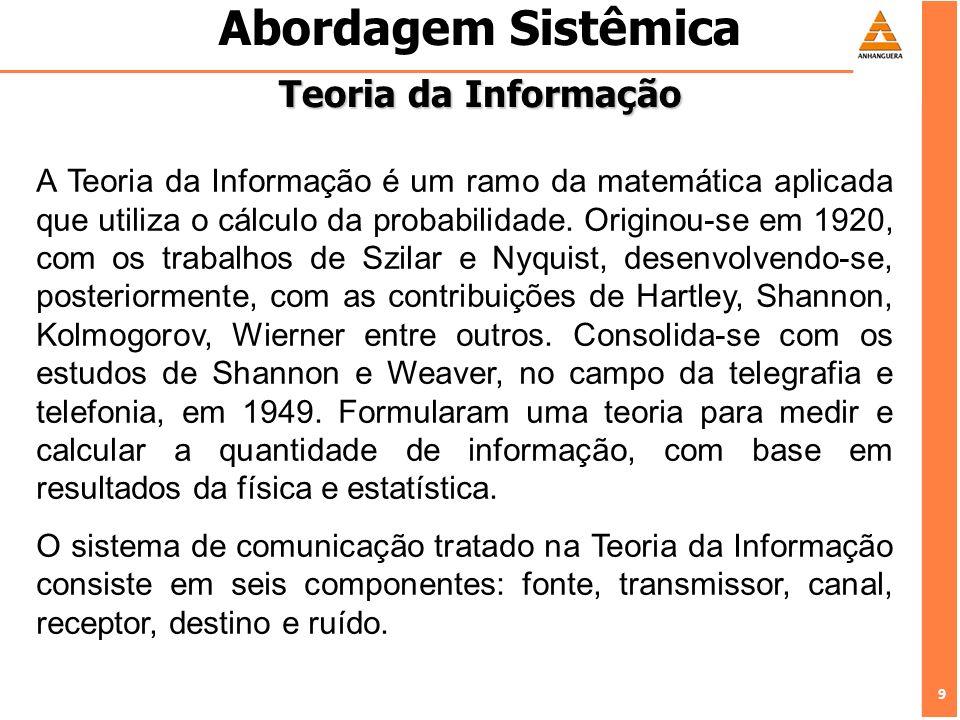 9 9 Abordagem Sistêmica Teoria da Informação A Teoria da Informação é um ramo da matemática aplicada que utiliza o cálculo da probabilidade. Originou-