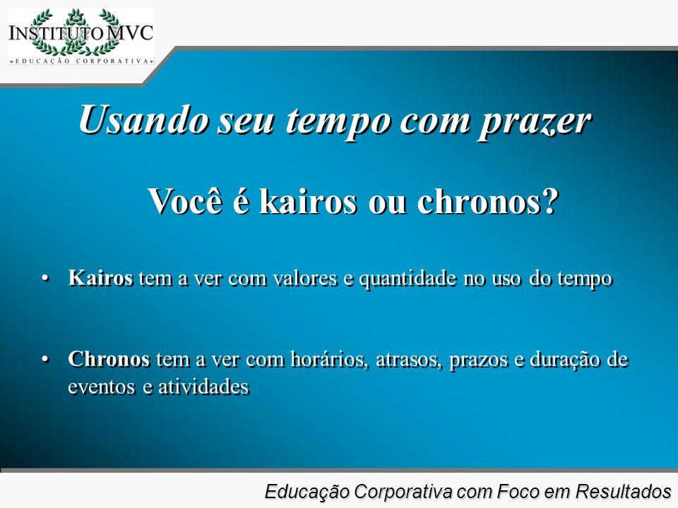 Educação Corporativa com Foco em Resultados Educação Corporativa com Foco em Resultados Você é kairos ou chronos.