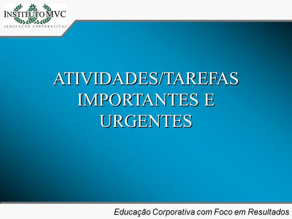 Educação Corporativa com Foco em Resultados Educação Corporativa com Foco em Resultados ATIVIDADES/TAREFAS IMPORTANTES E URGENTES