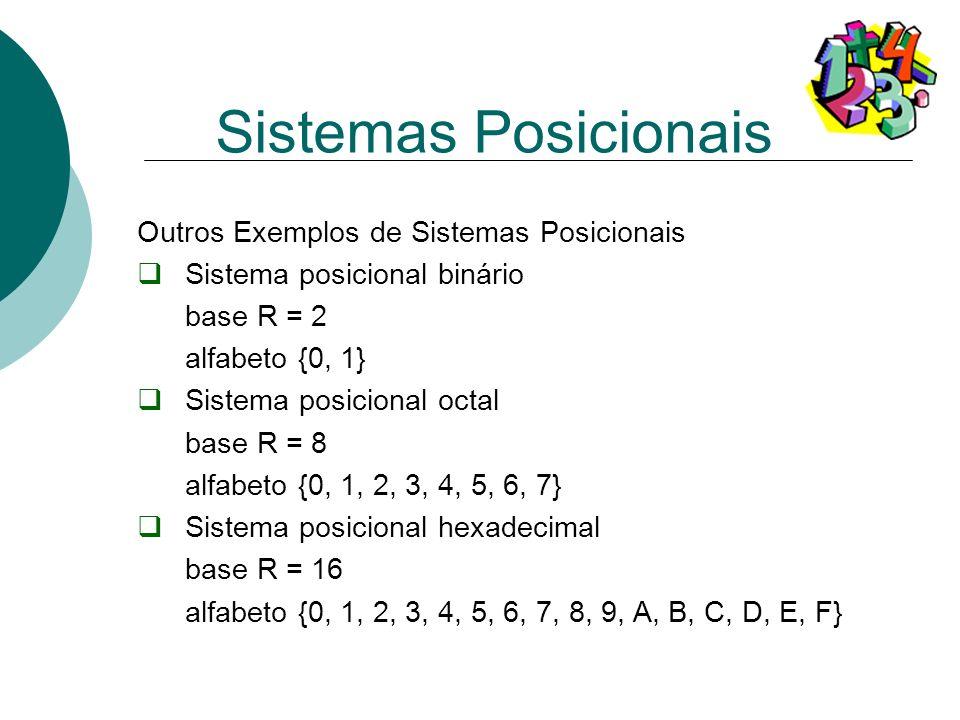 Outros Exemplos de Sistemas Posicionais Sistema posicional binário base R = 2 alfabeto {0, 1} Sistema posicional octal base R = 8 alfabeto {0, 1, 2, 3
