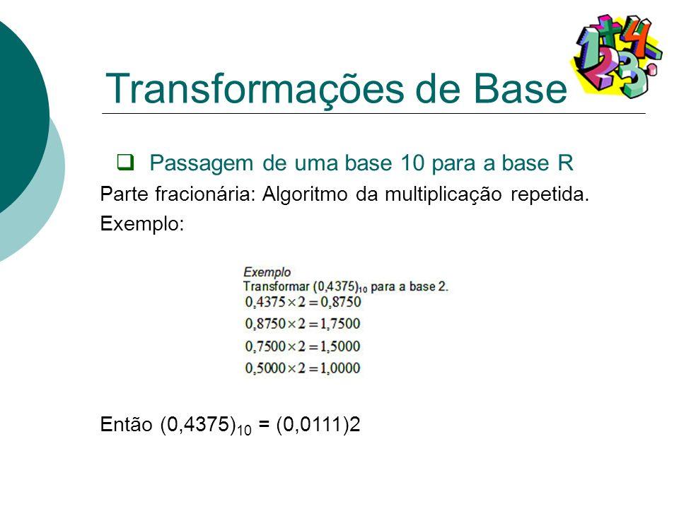 Passagem de uma base 10 para a base R Parte fracionária: Algoritmo da multiplicação repetida. Exemplo: Então (0,4375) 10 = (0,0111)2 Transformações de