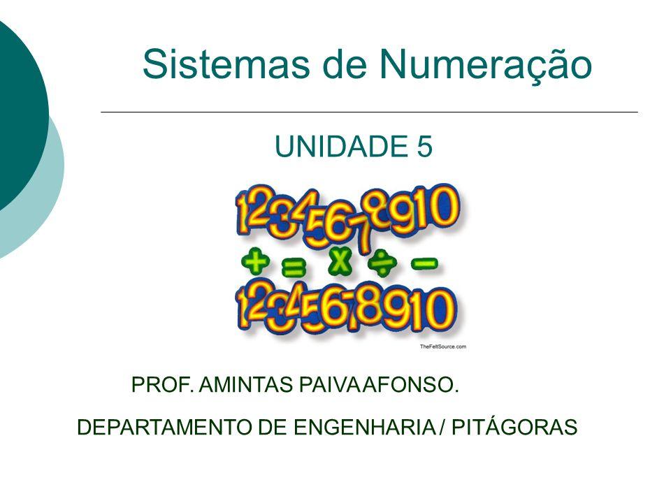 Sistemas de Numeração PROF. AMINTAS PAIVA AFONSO. DEPARTAMENTO DE ENGENHARIA / PITÁGORAS UNIDADE 5