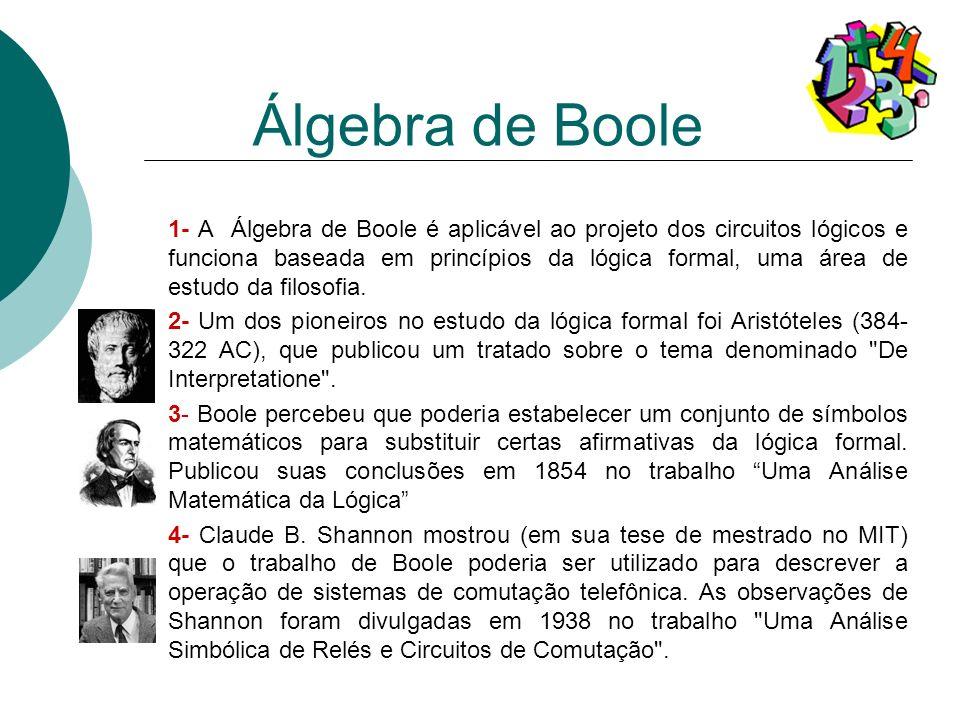 1- A Álgebra de Boole é aplicável ao projeto dos circuitos lógicos e funciona baseada em princípios da lógica formal, uma área de estudo da filosofia.