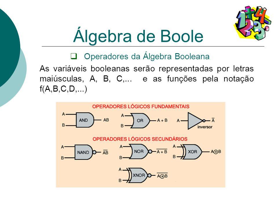 Operadores da Álgebra Booleana As variáveis booleanas serão representadas por letras maiúsculas, A, B, C,... e as funções pela notação f(A,B,C,D,...)