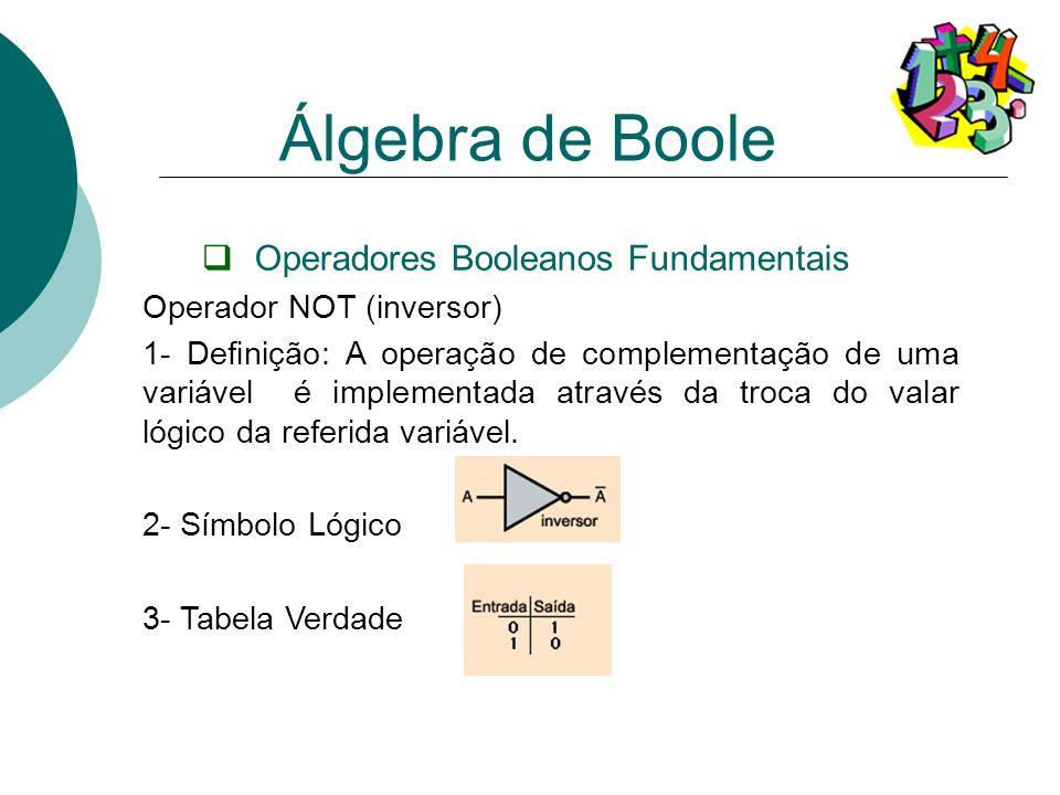 Operadores Booleanos Fundamentais Operador NOT (inversor) 1- Definição: A operação de complementação de uma variável é implementada através da troca d