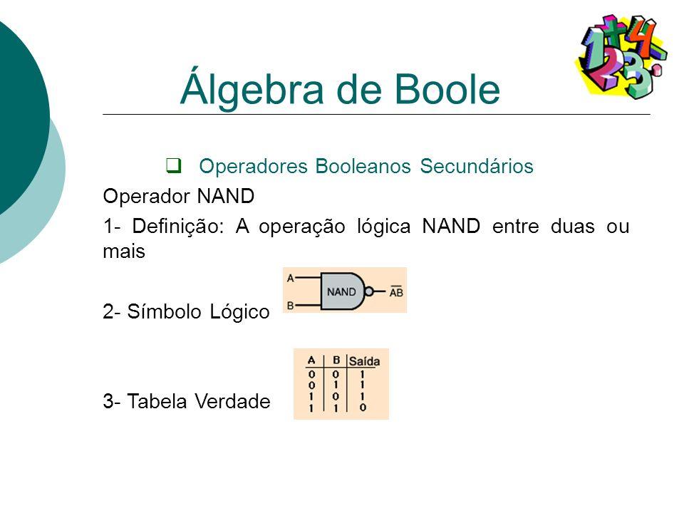 Operadores Booleanos Secundários Operador NAND 1- Definição: A operação lógica NAND entre duas ou mais 2- Símbolo Lógico 3- Tabela Verdade Álgebra de