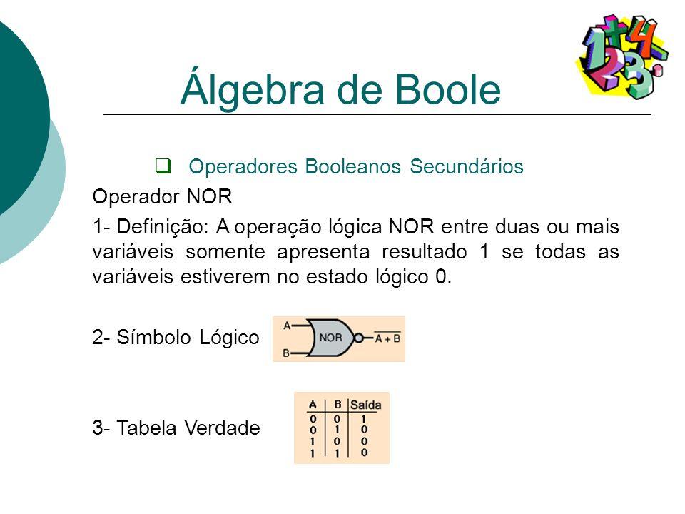 Operadores Booleanos Secundários Operador NOR 1- Definição: A operação lógica NOR entre duas ou mais variáveis somente apresenta resultado 1 se todas
