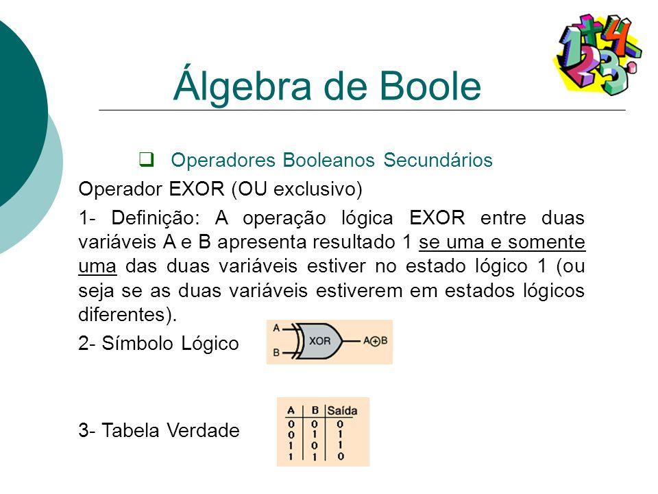 Operadores Booleanos Secundários Operador EXOR (OU exclusivo) 1- Definição: A operação lógica EXOR entre duas variáveis A e B apresenta resultado 1 se