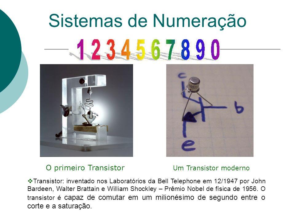 O primeiro Transistor Um Transistor moderno Sistemas de Numeração Transistor: inventado nos Laboratórios da Bell Telephone em 12/1947 por John Bardeen