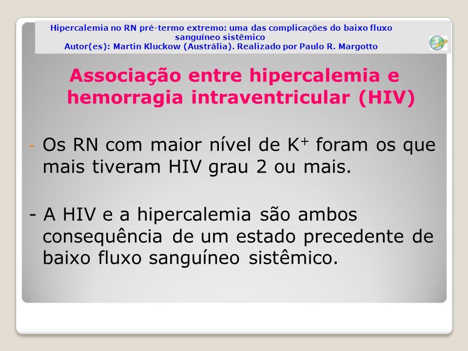 Associação entre hipercalemia e hemorragia intraventricular (HIV) - Os RN com maior nível de K + foram os que mais tiveram HIV grau 2 ou mais. - A HIV