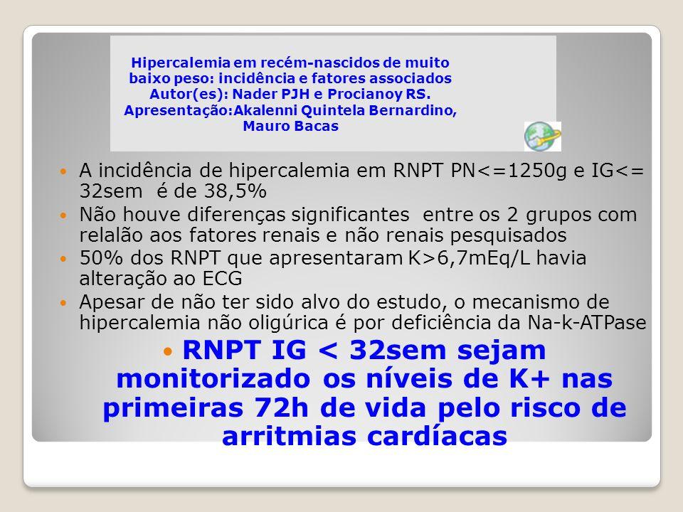 Hipercalemia em recém-nascidos de muito baixo peso: incidência e fatores associados Autor(es): Nader PJH e Procianoy RS. Apresentação:Akalenni Quintel