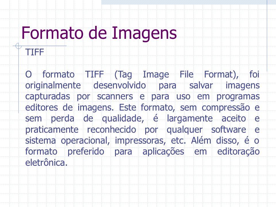 Formato de Imagens TIFF O formato TIFF (Tag Image File Format), foi originalmente desenvolvido para salvar imagens capturadas por scanners e para uso