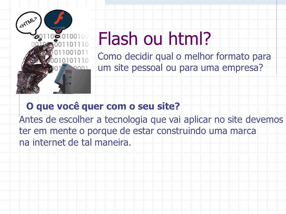 Flash ou html? Como decidir qual o melhor formato para um site pessoal ou para uma empresa? O que você quer com o seu site? Antes de escolher a tecnol