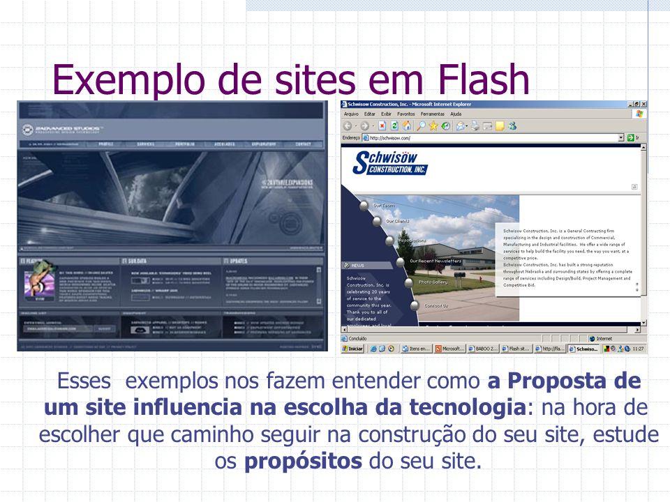Exemplo de sites em Flash Esses exemplos nos fazem entender como a Proposta de um site influencia na escolha da tecnologia: na hora de escolher que ca