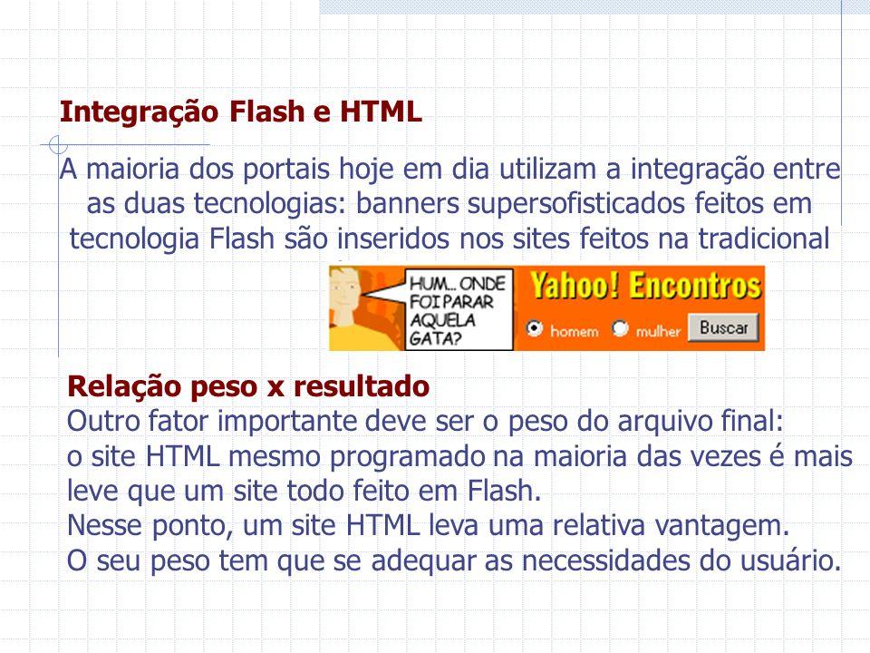 Integração Flash e HTML A maioria dos portais hoje em dia utilizam a integração entre as duas tecnologias: banners supersofisticados feitos em tecnolo