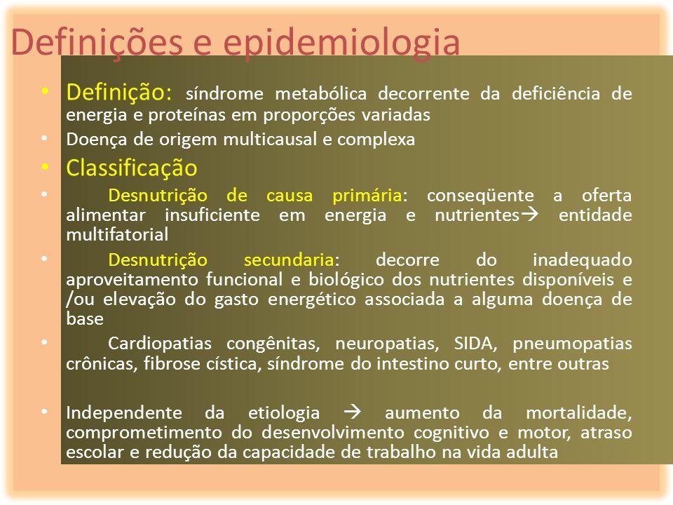 Definições e epidemiologia Definição: síndrome metabólica decorrente da deficiência de energia e proteínas em proporções variadas Doença de origem mul