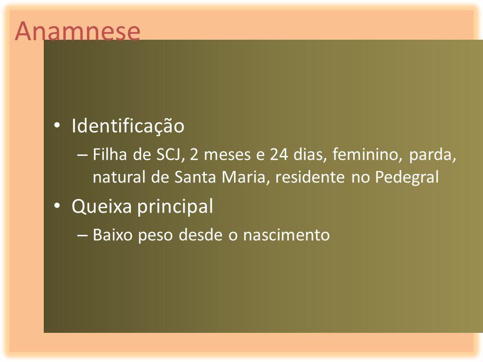 Anamnese Identificação – Filha de SCJ, 2 meses e 24 dias, feminino, parda, natural de Santa Maria, residente no Pedegral Queixa principal – Baixo peso