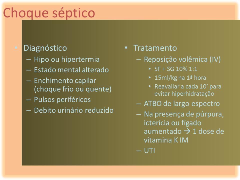 Choque séptico Diagnóstico – Hipo ou hipertermia – Estado mental alterado – Enchimento capilar (choque frio ou quente) – Pulsos periféricos – Debito u