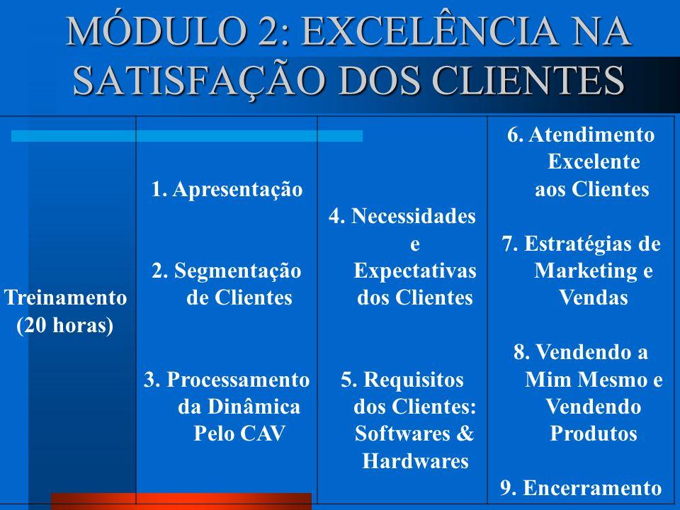 MÓDULO 3: GESTÃO DE PROCESSOS VOLTADOS PARA A EXCELÊNCIA Consultoria (20 horas) 1.