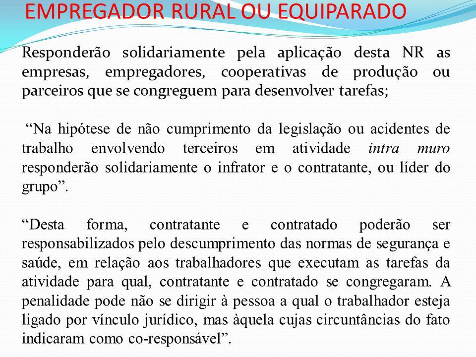 EMPREGADOR RURAL OU EQUIPARADO Responderão solidariamente pela aplicação desta NR as empresas, empregadores, cooperativas de produção ou parceiros que