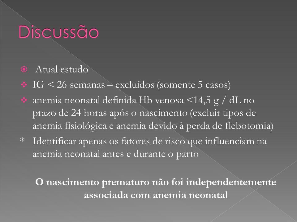 Atual estudo IG < 26 semanas – excluídos (somente 5 casos) anemia neonatal definida Hb venosa <14,5 g / dL no prazo de 24 horas após o nascimento (exc