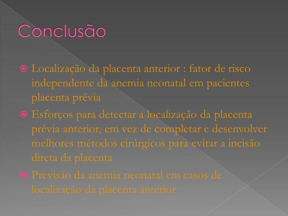 Localização da placenta anterior : fator de risco independente da anemia neonatal em pacientes placenta prévia Esforços para detectar a localização da