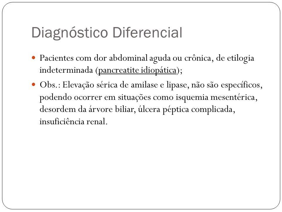 Complicações Há períodos de acalmia e complicações surgidas precocemente, tais como: - Cistos pancreáticos; - Derrames cavitários; - Diabetes; - HDA; - Fistulização pancreática; - Aumento do volume do órgão.