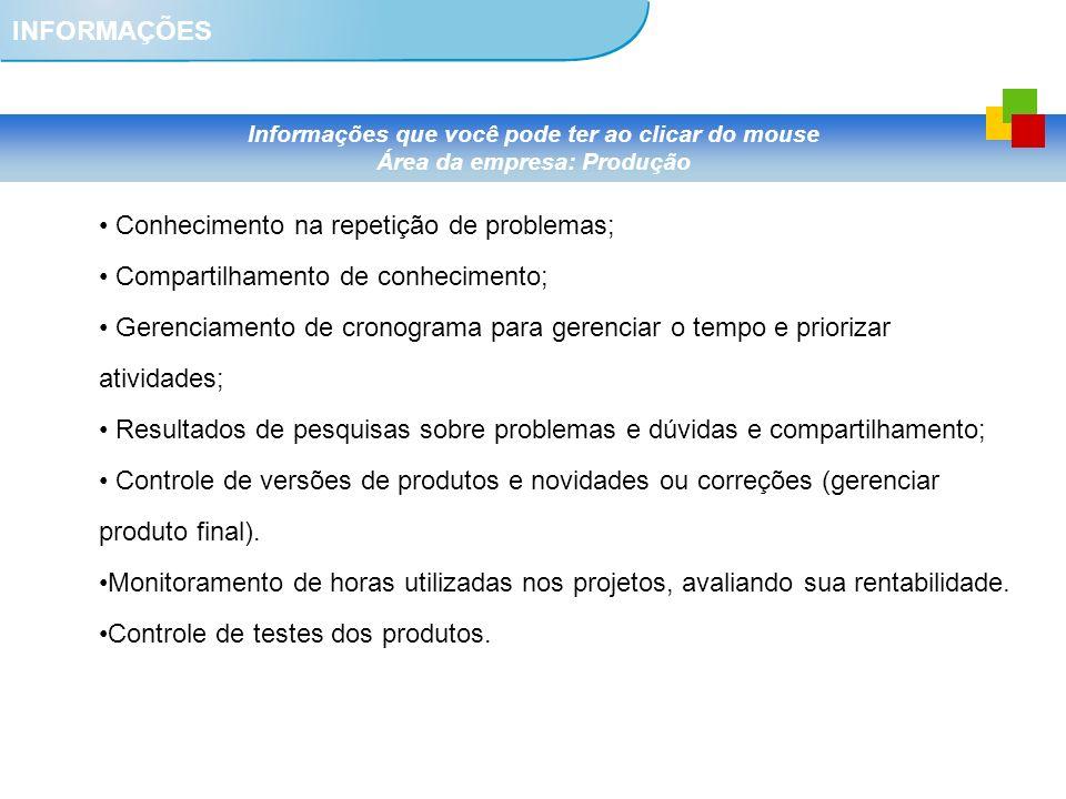 INFORMAÇÕES Informações que você pode ter ao clicar do mouse Área da empresa: Produção Conhecimento na repetição de problemas; Compartilhamento de con