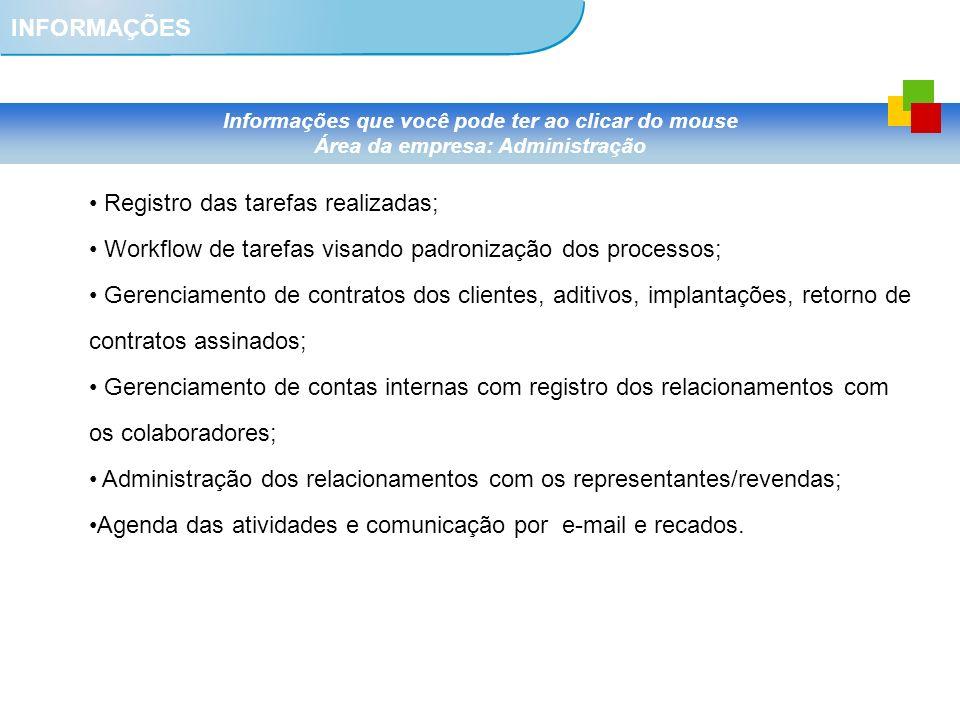 INFORMAÇÕES Informações que você pode ter ao clicar do mouse Área da empresa: Administração Registro das tarefas realizadas; Workflow de tarefas visan
